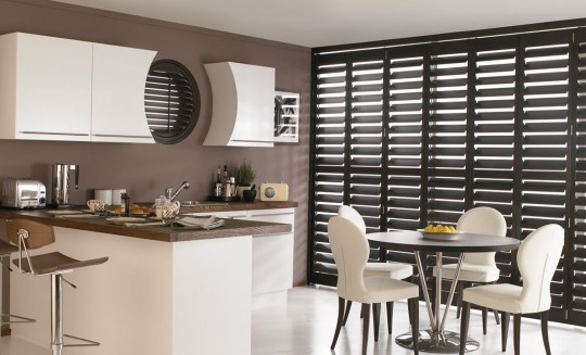 Kitchen Dark Wood Shutters